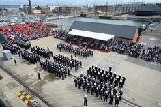 Parade     MoD image ©Crowncopyright 2104 Portsmouth Dockyard, Navy News, Hms Illustrious, Royal Navy, Northern Ireland, 21st Century, Military, History, City
