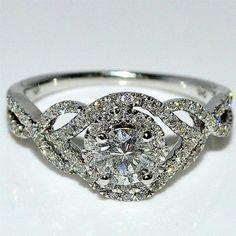 Diamond Engagement Ring Wedding 14K Whtie Gold Halo Split shoulder Criss corss 10mm wide Rings-MidwestJewellery.com http://www.amazon.com/dp/B00E3Y5BGC/ref=cm_sw_r_pi_dp_o8-avb0B3X4XN