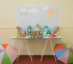Dessert Table at a Peppa Pig Party with Lots of Fun Ideas via Kara's Party Ideas | KarasPartyIdeas.com #PeppaPig #PartyIdeas #PartySupplies #DessertTable