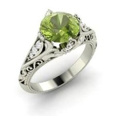 Rings - Tangerina - Peridot Ring in 14k White Gold with SI Diamond (1.88 ct.tw.)
