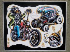Items similar to Tattoo Flash Sheet on Etsy Car Tattoos, Biker Tattoos, Motorcycle Tattoos, Cartoon Tattoos, Skull Tattoos, Sleeve Tattoos, Tattoo Flash Sheet, Tattoo Flash Art, Desenhos Old School