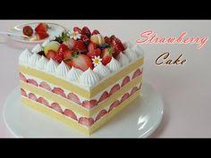 How to make a soft vanilla sponge strawberry cake / ASMR / Home Baking Fruit Recipes, Cake Recipes, Dessert Recipes, Food Cakes, Cupcake Cakes, Resep Cake, Vanilla Sponge Cake, Buy Cake, Just Cakes