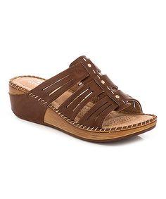 Brown Cutout Strap Sandal #zulily #zulilyfinds