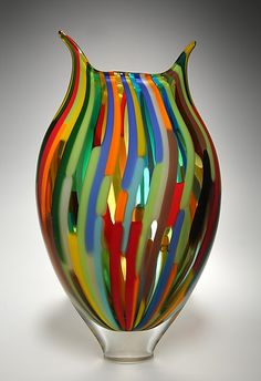 Mixed Cane Foglio by David Patchen. Art Glass Vessel available at www.artfulhome.com
