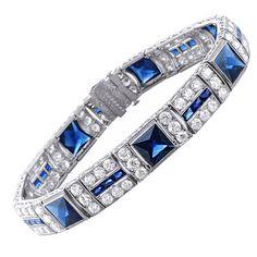 Elegant 1940s Art Deco Sapphire and Diamond Platinum Bracelet