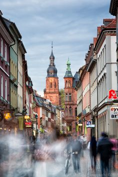 Heidelberg Germany on Hauptstrasse the pedestrian shopping area with The Church of the Jesuit in the background - Mark Shimazu Photography