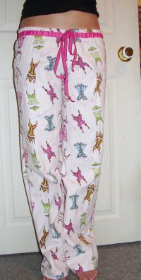 How to make a pattern and sew pajamas. I would leave out the ribbon drawstring for kid pjs.