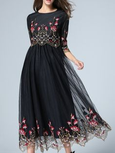 Shop Black Gauze Embroidered A-Line Midi Dress online. SheIn offers Black Gauze Embroidered A-Line Midi Dress & more to fit your fashionable… Spring Dresses, Day Dresses, Casual Dresses, Fashion Dresses, Prom Dresses, Pretty Dresses, Beautiful Dresses, Midi Dresses Online, Dress Online