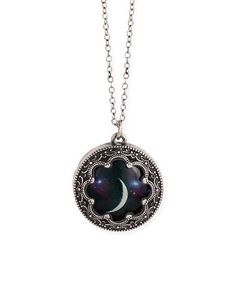 Loving this Antiqued Silvertone Moon Pendant Necklace on #zulily! #zulilyfinds