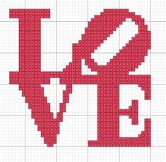 Love - Crochet or knitting chart / perler beads / quilting Crochet Cross, Crochet Chart, Free Crochet, Bead Crochet, Cross Stitching, Cross Stitch Embroidery, Cross Stitch Designs, Cross Stitch Patterns, Beading Patterns