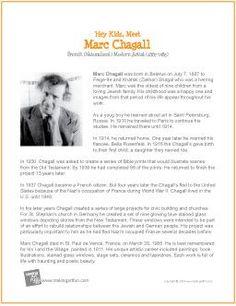 Hey Kids, Meet Marc Chagall   Printable Biography - http://makingartfun.com/htm/f-maf-printit/chagall-printit-biography.htm