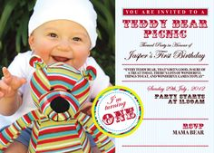 Teddy Bear Picnic - My Invitation Design for my Sons 1st Birthday Party (Front of Invitation)