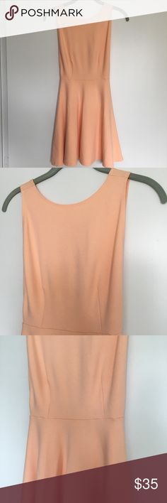 American Apparel Ponte Skater Dress One of the most beautifully dainty yet sexii (because side boob)  nude peach dresses I've ever seen!!! Basically new! Only worn once for a Valentine's Day video (one of my first videos EVER for all you OG subscribers). Would best fit a size small or an extra small with bigger boobies. It's not terribly too big on me, it's just a little gappy at the top. Nothing insane. I am 5'6 32 bust 24 waist 32 hips. American Apparel Dresses Mini
