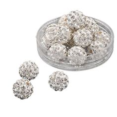 Pandahall 100 Pcs 10mm Crystal Pave Disco Ball Clay Beads... amazon.com fba41dd36a03