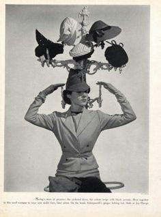Schiaparelli hats - photo by Cecil Beaton. #vintage #hats #ads