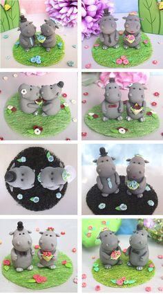 Hippo wedding cake topper  Cute personalized custom by PassionArte
