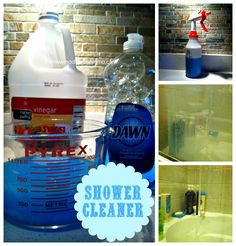 Homemade Shower Cleaner...   1cup of White Vinegar  2 cups of Water2 teaspoons of Dawn dish soap      Mix together and spray down shower (Watch how clean it stays it is AMAZING)