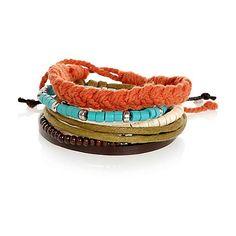 Orange and turquoise mixed woven wristbeads - bracelets - jewellery - men