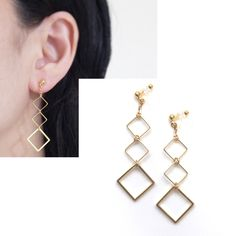 Pierced Look! Dangle Gold tone Gradated Square Motif Invisible Clip on Earrings, Clip-on Earrings, Non Pierced Earrings, Gift for her by MiyabiGrace on Etsy