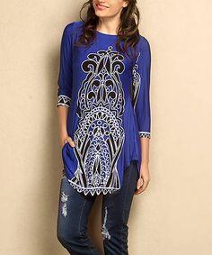 Another great find on #zulily! Blue Damask Split Hem Tunic - Plus #zulilyfinds