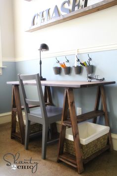 Restoration Hardware Kids Desk - built cheap!  Plus more ideas that you see in the picture!