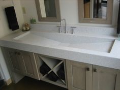 Good Bathroom Design With Solid Surface Bathroom Sinks : Terrific Picture Of Bathroom Decoration Using Large Rectangular Granite Solid Surface Bathroom Sinks Including 2 Handle Steel Bathroom Sink Faucet And Solid Unfinished Wood Bathroom Vanity