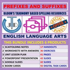 A bundle of 6 products on teaching and learning resources of prefixes and suffixes based on New Bloom's Taxonomy.After completing this unit students will be able to:Match the terms associated with prefixes and suffixes with their meanings.Add prefixes and suffixes to high frequency and other studied...
