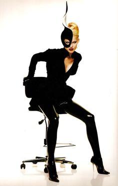 Thierry Mugler, circa 1990'sModel: Eva Herzigová. ~BLACK DRAMA~