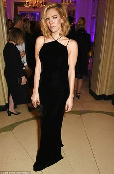 In attendance:Vanessa Kirby stood out in a fitted black halterneck that drew attention to her slimline physique