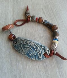 Yoga Mind  mixed media bracelet with ceramic  by lejonklou on Etsy, $40.00