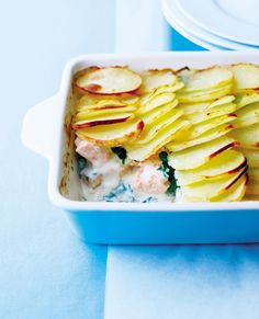 Salmon marries well with potato and spinach in this comforting recipe to make and freeze, ready to be pulled out whenever you don't want to cook.