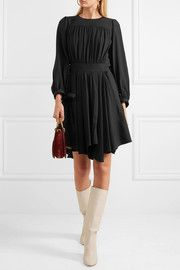 Chloé Pleated asymmetric cady dress