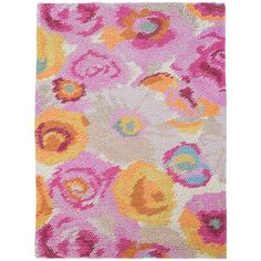 Sink your toes into pure bliss with this ultracushy woven wool rug. Inspired by a Parisian watercolor, this rug is created by looping large wool yarns into a beautiful floral design in soft shades of pink, orange, gold, and green.