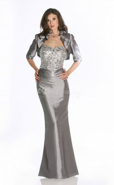 Mermaid Sweetheart Floor-length Silver Stretch Satin Mother Of The Bride Dresses With Wrap(MBD005)
