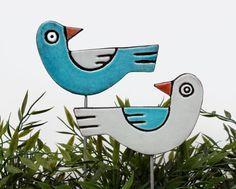 Oiseaux, art des jardins réalisé en céramique de lamour.    Nos enjeux de plante en céramique sont fantastiques petites idées jardins, ils font aussi de