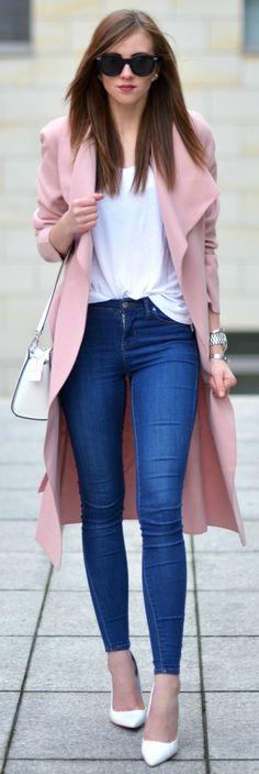 This is how pastels should be worn in winter. Via Barbora Ondrackova Shirt: Acne, Jeans/Shoes: Topshop, Coat: Missguided, Bag: Michael Kors, Sunglasses: Celine