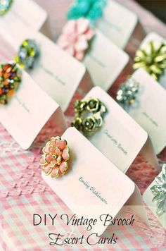 Pretty brooch vintage place cards...great for an 80th or 90th birthday party tea.