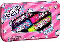 Bubble Yum Bubblegum Flavored Lip Balm Gloss 4 Tube Tin Original Bubble Gum, Cotton Candy, Grape, Watermelon New