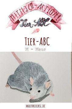 Mitmach-Aktion Tier-ABC diesmal ist die Maus an der Reihe. Malen für Kinder, Tiere malen. #Tier-ABC #Maus #Pastell #malenfürkinder Tier Abc, Crochet Hats, Hands On Activities, Pastel, Watercolor, Sketches, Kids Animals, Knitting Hats