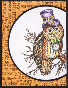 Stampendous® Autumn Steampunk Owl Card