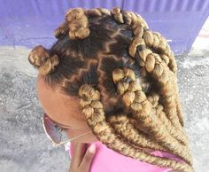 Honey Blonde Box Braids + Zig Zag Parting. Makes for a good between relaxer hairstyle