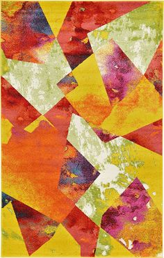 Ebern Designs Shires Contemporary Yellow/Red Area Rug Rug Size: Runner x Colorful Decor, Colorful Rugs, Synthetic Rugs, Yellow Area Rugs, Modern Area Rugs, Round Rugs, Rug Material, Abstract Pattern, Abstract Print