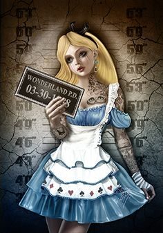 Alice In Wonderland Dark Madness Disney mugshot prison jail Disney Tattoos, Dark Alice In Wonderland, Punk Disney Princesses, Princess Disney, Princess Art, Princess Jasmine, Zombie Disney, Drawn Art, Alternative Disney