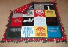 T-shirt quilt ideas...yup I could probably make two already...or maybe do something two sided! huh, the creative juices are flowin