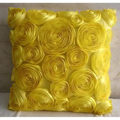 Sun Blooms - Throw Pillow Covers - 16x16 Inches Silk Dupioni Pillow Cover with Satin Ribbon Embroidery. $28.45, via Etsy.