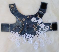 Spring in Bloom Upcycled Denim Harness with Studs, Swarovski elements, and French lace by Orostani Couture. Visit the website for more luxury pet fashion orostanicouture.com
