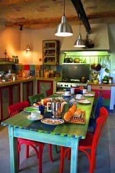 Petit De Jeuner by John Galbo, - Arredamento estivo Mexican Kitchen Decor, Mexican Style Kitchens, Mexican Home Decor, Boho Kitchen, Kitchen Styling, New Kitchen, Kitchen Dining, Mexican Hacienda Decor, Hippie Kitchen