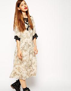 ASOS Premium Midi Dress in Print with Lace