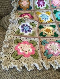 Crochet flower blanket.