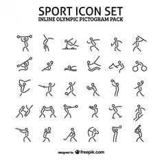 Le sport en ligne Pack icône pictogramme Vecteur gratuit
